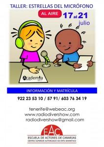 1 CARTEL web TALLER RADIO INFANTIL DEL 17 AL 21 DE JULIO