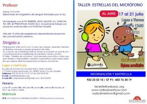 2 Díptico web TALLER RADIO INFANTIL CARA A semana de 17 al 21 de julio 2017