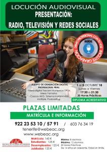 CARTEL COR4REGIDO TALLER RADIO LOCUCIÓN AUDIOVISUAL 8 AL 12 OCTUBRE 2018 ok