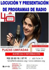 CARTEL LOCUCIÓN Y PRESENTACIÓN DE PROGRAMAS DE RADIO SEMANA DEL 9 AL 13 DE OCTUBRE