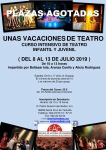Cartel Teatro Infantil y Juvenil VERANO 2019 PLAZAS AGOTADAS