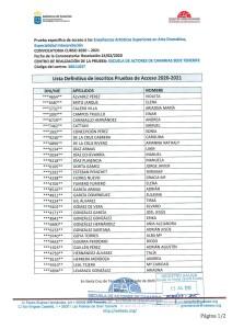 Lista Definitiva de Inscritos P. Acceso Julio 2020 EAC Sede TFE 1