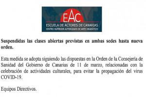 SUSPENDIDAS CLASES ABIERTAS