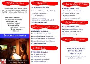 TALLER LOCUCION AUDIOVISUAL Y DOBLAJE JULIO 2020 27 AL 31 CARA B TRÍPTICO-